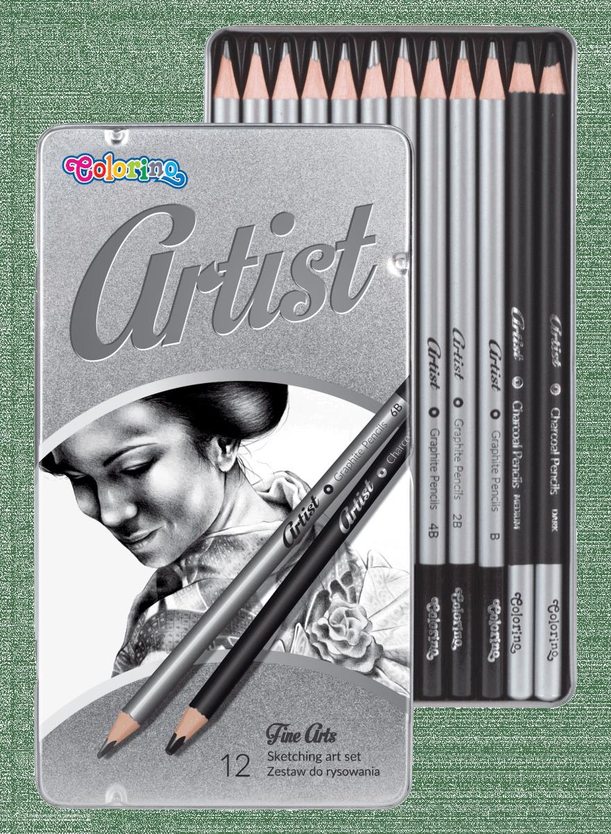 Set Of 12 Sketching Pencils Artist Colorino Lpmarocaine